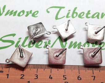 6 pcs per pack of 14x12x5mm 4D Graduation Cap Charm Antique Silver Finish Lead Free Pewter