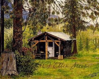 NOTE CARD, Old Homested, cabin, cabin decor, Old Cabin, forest, lodge decor, rustic decor, cards, blank cards, Ellen Strope, castteam