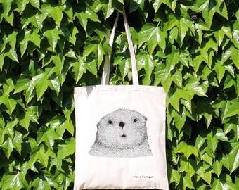 Tote Bag Curious Otter 100% Natural Cotton Long Handles Otter Shopping Bag Otter Bag Cute Animal Market Bag Cotton Shopper Otter Gift