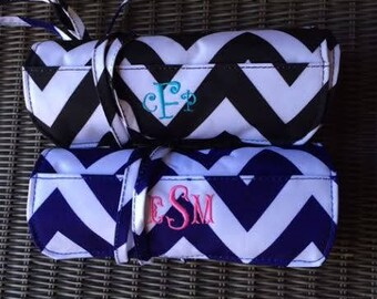 Monogrammed Chevron Roll Up Jewelry & Cosmetic Bag