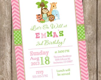 Safari birthday invitation, jungle invitation, girls safari birthday invitation, birthday invite, first birthday invitation, chevron, pink