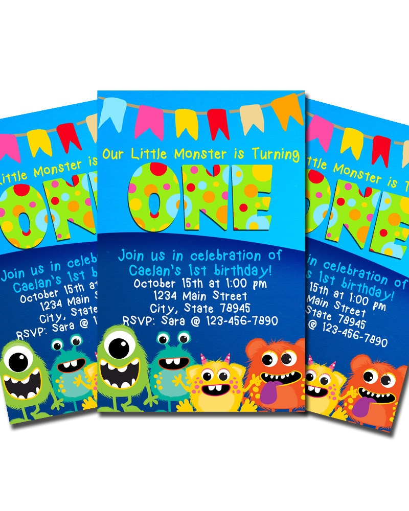 Monster Birthday Party Invitations Birthday Party Monster