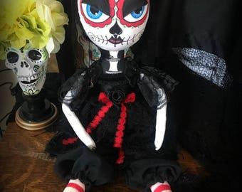 Folk Art Day of the Dead Sugar Skull Doll OOAK Art Doll Dia de los Muertos or Halloween