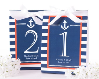 Nautical Wedding Table Number Tent Cards - Nautical Wedding Table Markers - Nautical Wedding Decor - Nautical Wedding Table Tents - #wtn-113