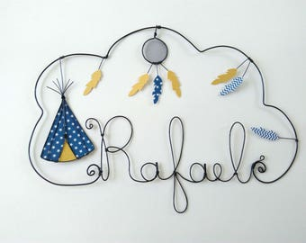 "Name personalized wire ""Indian teepee with his feather dream catcher stars"" nursery wall decor"