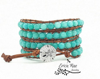 Amazonite gemstone leather wrap bracelet, leather bracelet, beach bracelet, beach jewelry, Boho jewelry, leather wrap, wrap bracelet, ocean