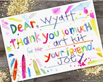 Fill-In Watercolor Thank You Cards - kids cards, Thank you cards, thank you notes, stationery