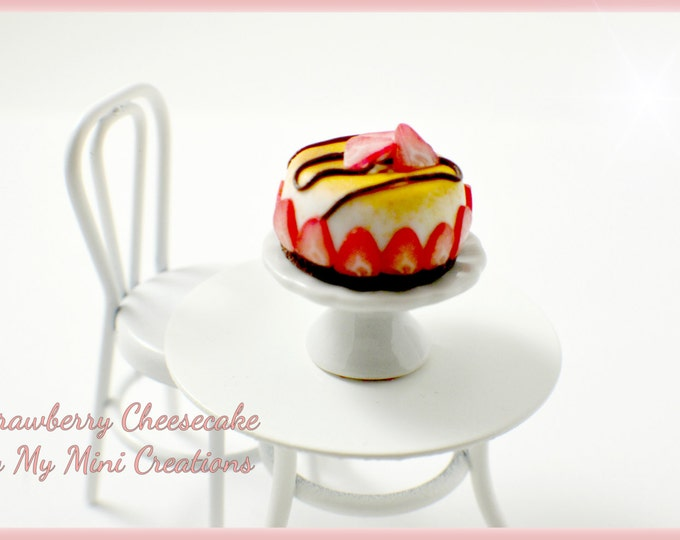 Handmade Polymer clay Strawberry Cheesecake , Miniature food, miniature food jewelry