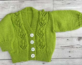 Baby cardigan knitted. baby sweater, hand knitted baby cardigan, apple green baby cardigan, 0-3 months