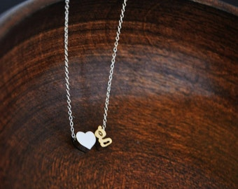 Tiny Alphabet Necklace/ Initial Necklace/ Boyfriend Girlfriend Initial Necklace/ Tiny Initial Heart Necklace/Small Block Letter Necklace