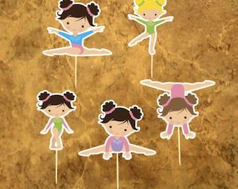 Gymnastics Cupcake Toppers - Gymnastics Girl - Gymnastics Birthday Party - Gym Girl Party .