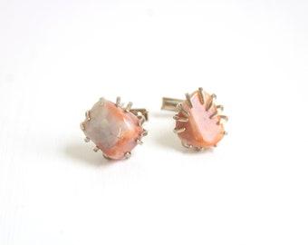 Vintage Cuff Links, Peach Cuff Links, Stone Cuff Links, Silver Cuff Links, Peach Stone Cuff Links, Peach and Silver Cuff Links,Peach Wedding