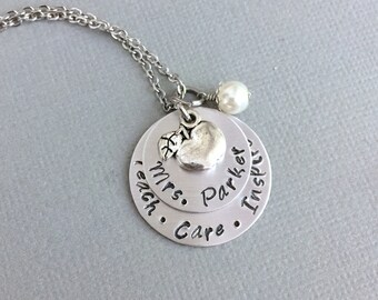 Teacher Name Necklace, Apple Charm, Graduation Gift, Personalization Teacher Gift, Day Care Gift, Hand Stamped Jewelry, End of Year Gift