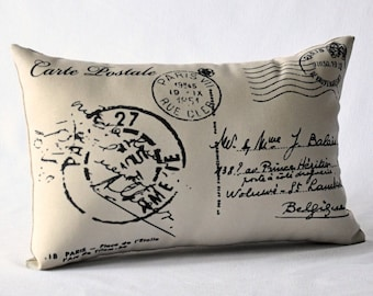 French Postcard pillow, French script, French decor