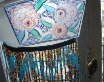 Glass blue painted shade ART NOUVEAU pink dahlia flower pattern hexagonal shape 1930 long glass beaded fringe ceiling lighting home decor