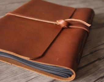Memory Leather Photo Album, Leather Album, Baby Album, Distressed Scrapbook Album, Leather Wedding Guestbook