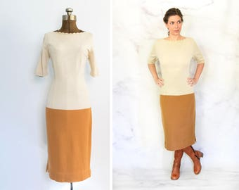 1950s Color Block Wiggle Sweater Dress Size Medium - Large