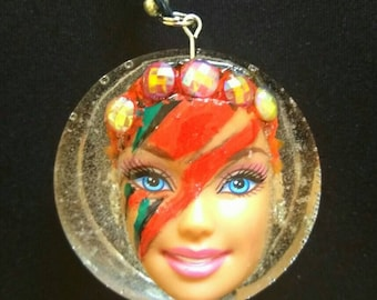 David Bowie - lightening bolt Barbie pendant.