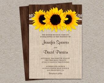 Rustic Sunflower Wedding Invitations With Burlap And Lace, Country Wedding Invitation Cards With Sunflowers, Rustic Wedding Invitation Cards