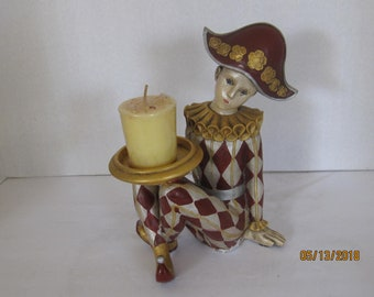 Rare and Whimsical Harlequin Candle Holder