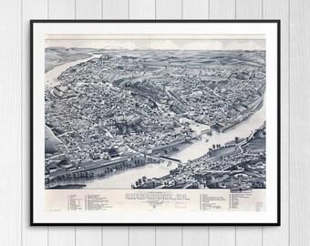 Sherbrooke Quebec, vintage Quebec map, vintage Canada map, Quebec art, Quebec maps, Quebec posters, province Quebec, Sherbrooke PQ map print
