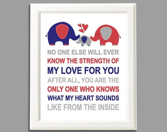 Red and royal blue elephant wall art print -UNFRAMED- baby boy nursery art,  typography, No one else will ever, quote, elephant family