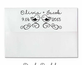Personalized Lovebirds Wedding Rubber Stamp