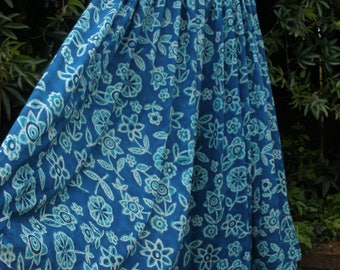 Full Circle Vintage Gypsy Skirt Cotton Gauze  Block Print Style India Folk Skirt 16-18-20 Elasticated Drawstring Waist Blue Teal
