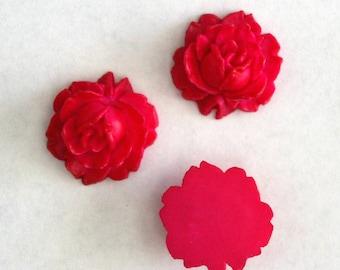 Vintage hot pink rose cabochons 16mm (3)