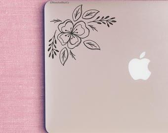 Floral Corner, Flower Decal, Flower Sticker, Laptop Stickers, Laptop Decal, Macbook Decal, Car Decal, Vinyl Decal
