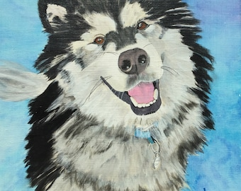 "Custom Pet Portraits, 11""x14"" fits 16x20"" mat/frame, acrylic by Sharon James"