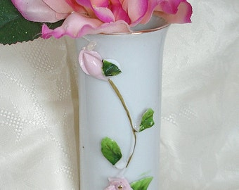 Antique Rose Vase by Lefton Vintage China with Applied Roses Smaller Size Versatile Collectible Home Decor Table Decor