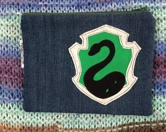 Wizard School House Crest Zipper Pouch-Snake