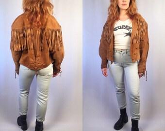 Vintage Whiskey Suede Fringe Jacket Lace Up