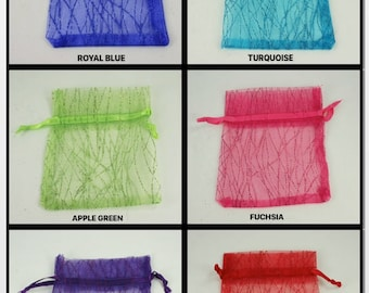PACK of 12 Sparkle Glitter Stripe Organza Favor Bags Pouches Choose SIZE and COLOR