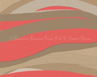 DESERT SUNSET ONE fine art print, digital painting, cayenne taupe sand tan square print, colorful contemporary wall decor for home or office