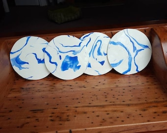 Coasters white and blue. Set of 4