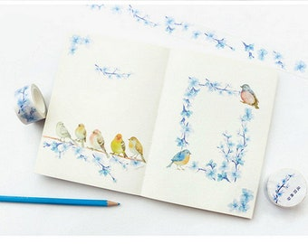 Bird Washi Tape - Flowers Washi Tape - Watercolor Washi Tape - Bird Stickers - Flower Stickers, Choose One Roll or Set of Two