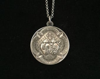 antique french sacred heart of marie and jesus medallion necklace holy family