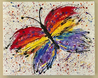 Abstract Colorfull  Buterfly Acrylic painting on canvas / Blue, red, yellow, purple, orange