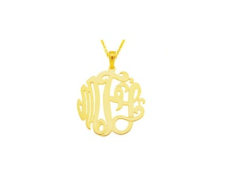 "14YMono075pc - 14K Yellow Gold 0.75"" Monogram Necklace w/ Pendant Bail""(0.4mm thin)"