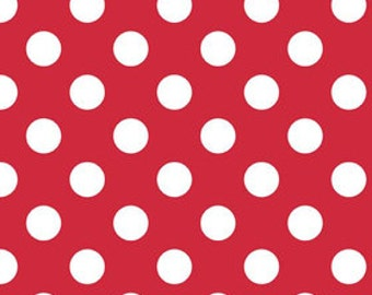Riley Blake Medium Dot, White on Red,  fabric by the yard