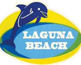 Vintage Style Laguna Beach California  dolphin 1950's   Travel Decal sticker