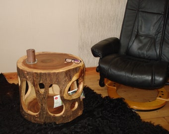 Occasional table trunk hollowed, dried