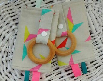 Drool Pads - Suck Pads - Baby Carrier Strap Covers w/ Teething Rings - Modern Geometric Triangles, Beige, Neon, Pink, Teal, Mint