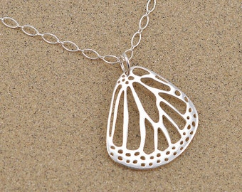 Monarch Butterfly Wing Pendant - Sterling Silver - Long and Short Chain