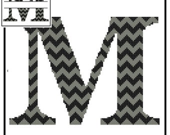 Chevron Monogram M Cross Stitch Pattern M Initial M Letter cross stitch Wedding Gift split letter cross Wedding Record Anniversary
