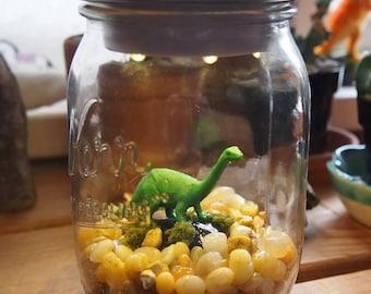 Mason Jar Dinosaur Light: Long Neck