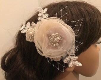 Wedding Hair Flower, Lace & Flower Hair Clip, Wedding Fascinator, Handmade Hair Jewelry, Ready-to-ship