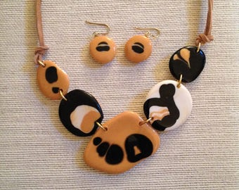 Black and tan, one of a kind statement necklace set